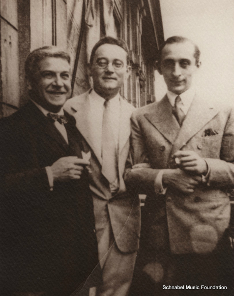 Artur Schnabel with Carl Flesch and Vladimir Horowitz, 1930's
