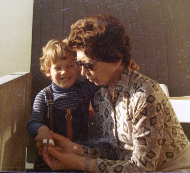 Claude Mottier with his grandmother, Helen Schnabel. Oberrohrdorf, Switzerland, 1974
