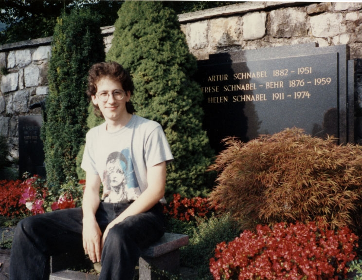 Claude Mottier at family grave in Schwyz, Switzerland. 1992