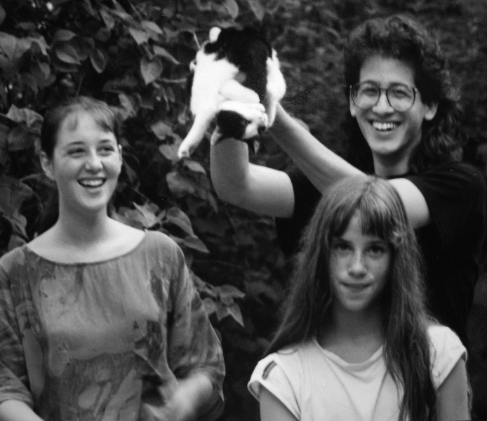 Claude Mottier with his cousins Sarah and Vanessa Bauer in Neuchâtel, Switzerland, 1989