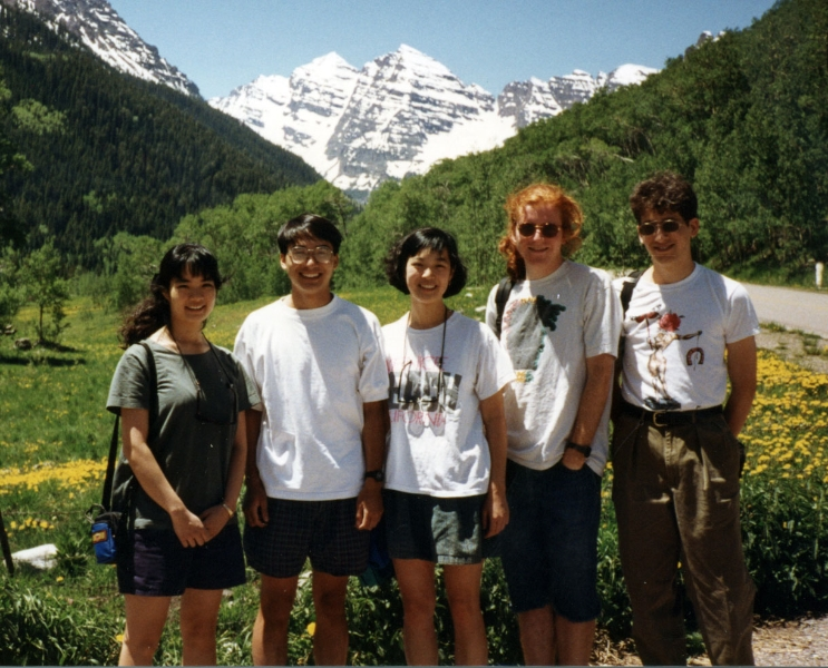 Claude Mottier hiking with students above Aspen, 1993