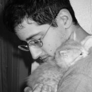 Claude Mottier with his kitten Athena. Phoenix AZ, 1996