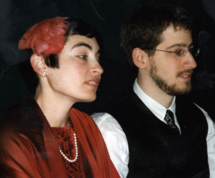 Claude Mottier and Erika Zoe Schutzman at their wedding in Rhinebeck, NY, December 13, 1999