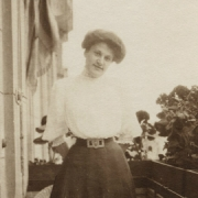 Therese Behr Schnabel on balcony of apartment at Wielandstrasse Berlin, around 1906