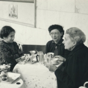 From l. to r.: Herta Kroehling, Ann, Helen and Therese Schnabel in a tearoom in the Alps. 1953