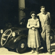 Helen and Karl Ulrich Schnabel with their Fiat Topolino in Menaggio,  Italy. Summer 1949