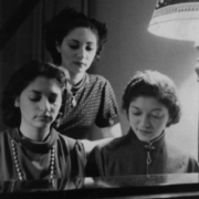 l. to r.: Sylvia, Ada, and Helen Fogel at Helen\'s apartment in Brooklyn, mid 1930\'s