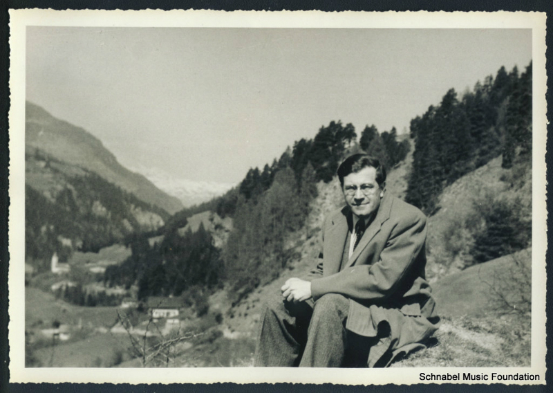 Karl Ulrich Schnabel in the Engadin, Switzerland. 1950\'s