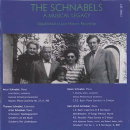 The Schnabels - A Musical Legacy Unpublished or Lost Historical Recordings. TownHall Records THCD-74