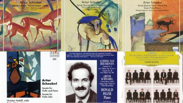Some samples of covers on CDs with compositions by Artur Schnabel.