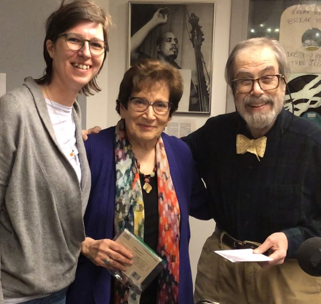 "Photo at Columbia University Radio: Left to Right: Britta Matterne (Production manager SMF), Ann Schnabel Mottier, Teri Noel Towe (Radio Host.) Photo Francois Mottier getting ready for the radio show ""All Things Schnabel"" March 18, 2019."