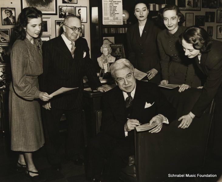 Artur Schnabel signing autographs, 1940's