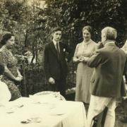 In the garden of Villa Ginetta, Tremezzo (Como) with students, 1938