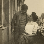Therese and Artur Schnabel on the balcony of their Apartment at the Wielandstrasse in Berlin, around 1906