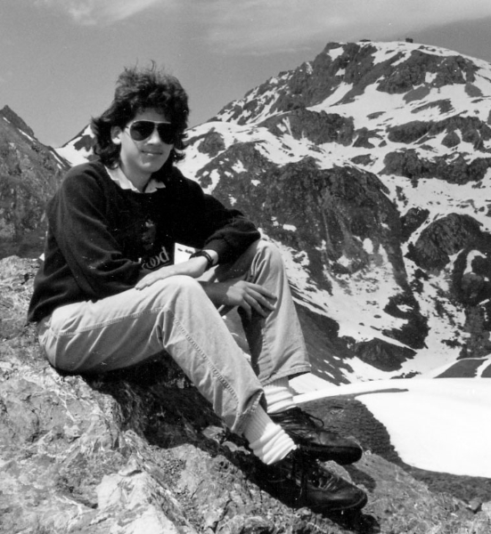 Claude Mottier hiking in the Alps, 1989