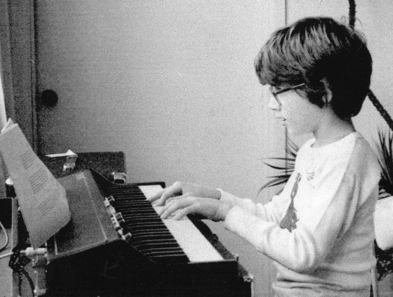 Claude Mottier playing on keyboard. Fort Lauderdale, FL, 1979