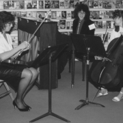 Chambermusic in local library. Claude Mottier with chamber music partners. Hartford CT, 1987