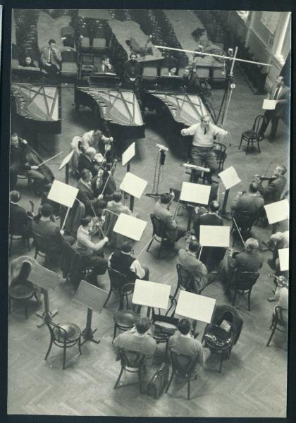 Helen and K.U. Schnabel, with Ilse von Alpenheim, recording Mozart's Three Piano Concerto, Vienna 1956