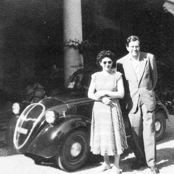 Helen and Karl U. Schnabel with their Fiat Topolino, Italy, 1950's