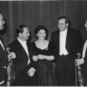 Helen and K.U. Schnabel with conductor and violinists, Netherlands, 1950's