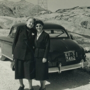 Therese and Helen Schnabel on a trip through the Alps. 1953
