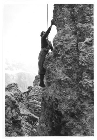 Helen Fogel climbing in the Dolomites,1938