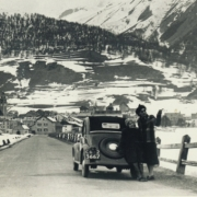 Helen and Ann Schnabel in the Alps with the family Topolino. 1949