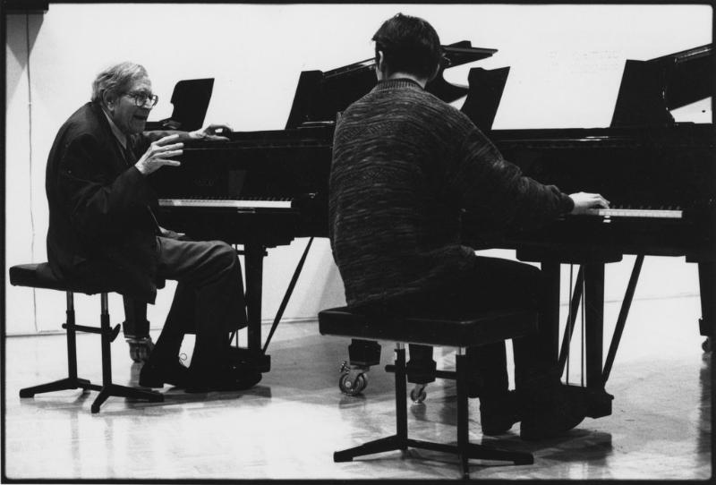 Karl Ulrich Schnabel teaching. Germany, 1980's