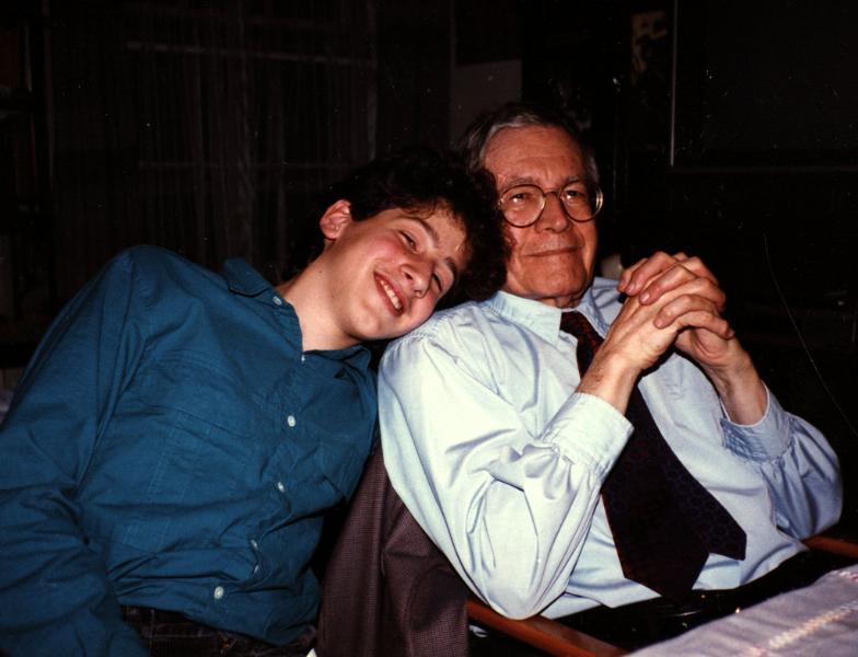 Karl Ulrich Schnabel with grandson Claude Mottier. 1986